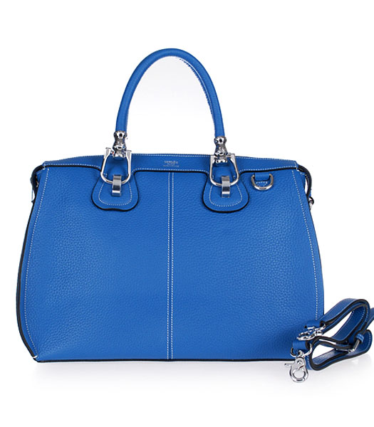 Hermes Medium Double-duty Lake Blue Togo Leather Bag Silver Metal