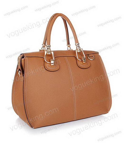 Hermes Medium Double-duty Light Coffee Togo Leather Bag Golden Metal-1