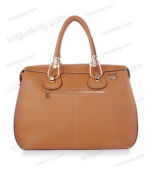 Hermes Medium Double-duty Light Coffee Togo Leather Bag Golden Metal-2