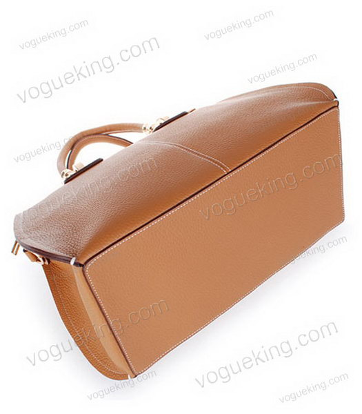 Hermes Medium Double-duty Light Coffee Togo Leather Bag Golden Metal-3
