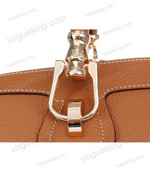Hermes Medium Double-duty Light Coffee Togo Leather Bag Golden Metal-5