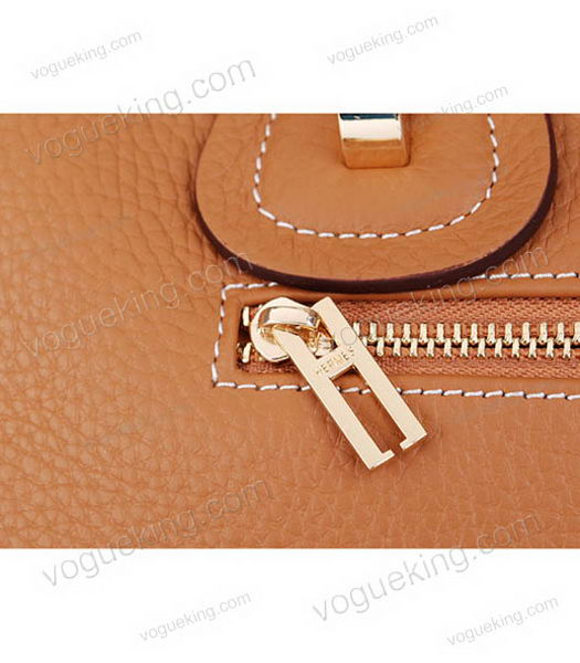 Hermes Medium Double-duty Light Coffee Togo Leather Bag Golden Metal-6