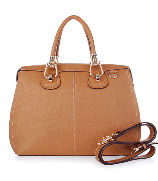 Hermes Medium Double-duty Light Coffee Togo Leather Bag Golden Metal