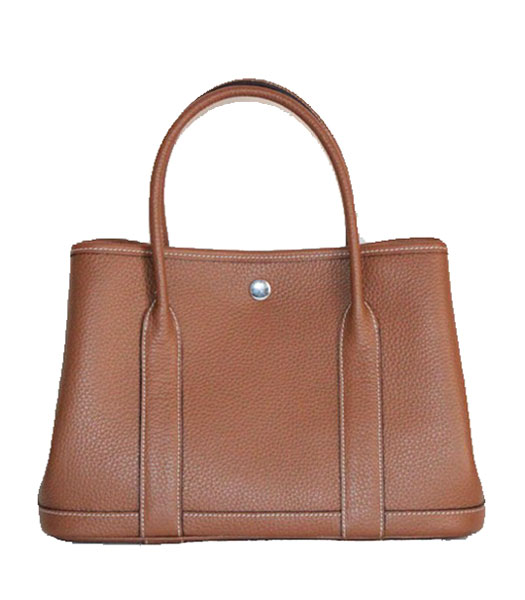 Hermes 32cm Small Garden Party Bag in Light Coffee Togo Leather