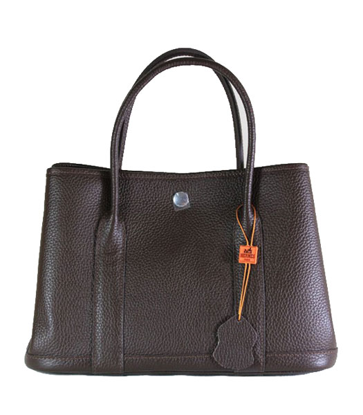 Hermes 32cm Small Garden Party Bag in Dark Coffee Togo Leather