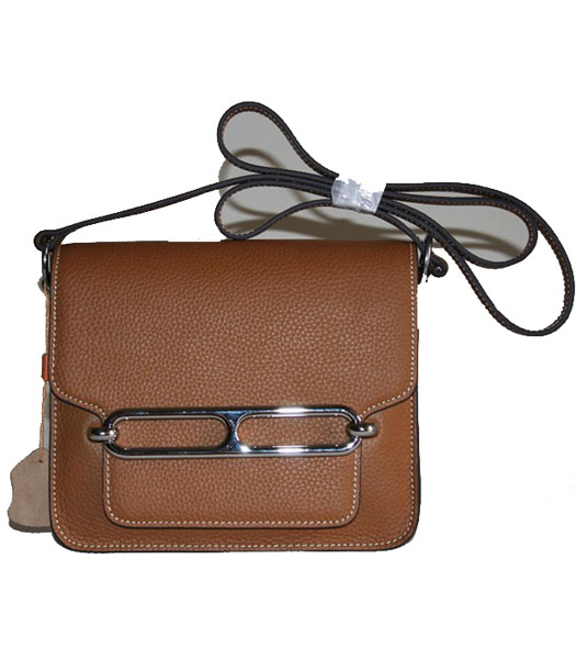 Hermes Small Messenger Bag Light Coffee Togo Leather Silver Metal