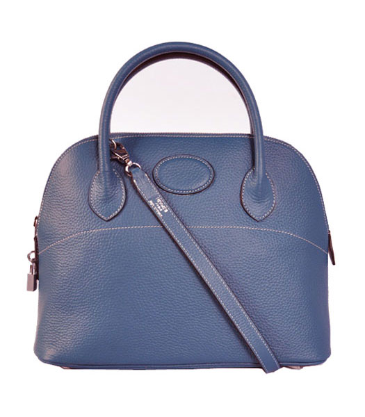 Hermes Bolide 31cm Togo Leather Small Tote Bag in Dark Blue