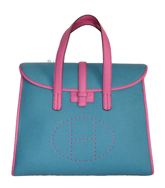 7033d9e0ca ... top quality hermes feudou bovine jugular veins bag in bluefuchsia 977c9  5e593