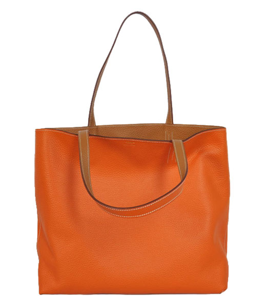 Hermes Medium Shopping Two-sided Bag OrangeLight Coffee Togo Leather