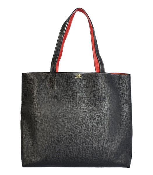 Hermes Medium Shopping Two-sided Bag BlackRed Togo Leather