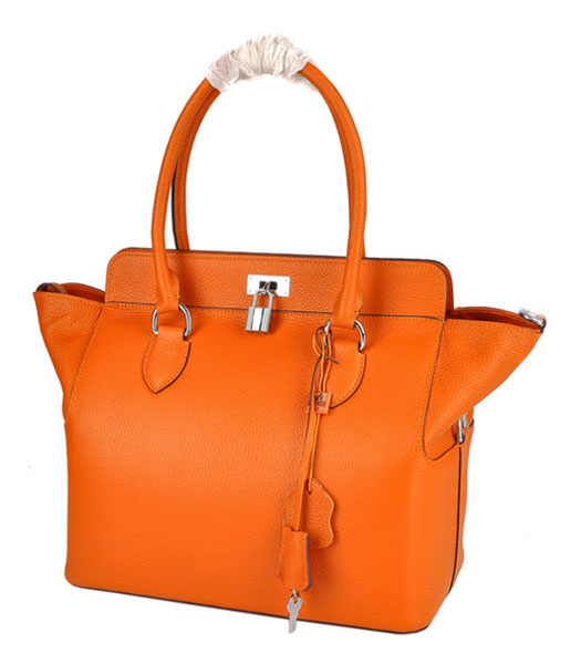 Hermes Toolbox 30cm Togo Leather Bag in Orange with Strap