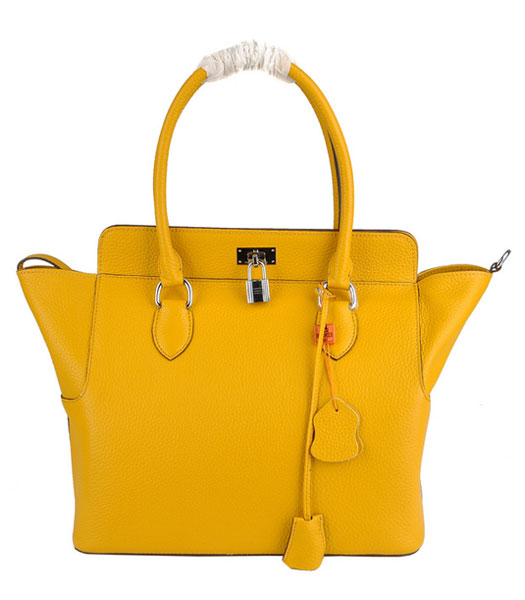 Hermes Toolbox 30cm Togo Leather Bag in Yellow with Strap