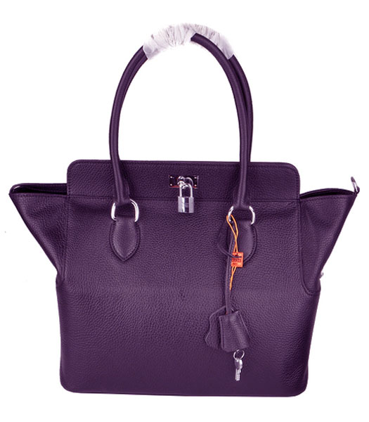 Hermes Toolbox 30cm Togo Leather Bag in Purple with Strap -1
