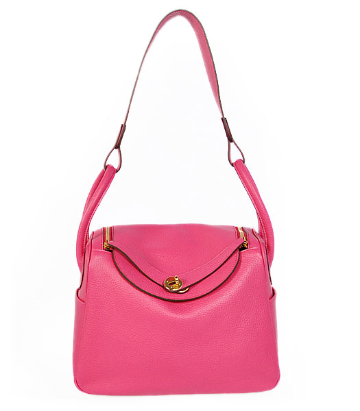 Hermes lindy 30cm Fuchsia Togo Leather Golden Metal Bag