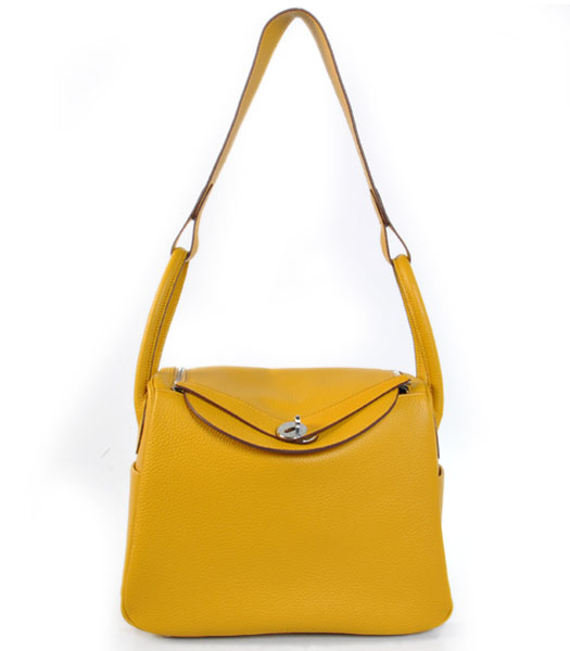 Hermes lindy 30cm Yellow Togo Leather Silver Metal Bag