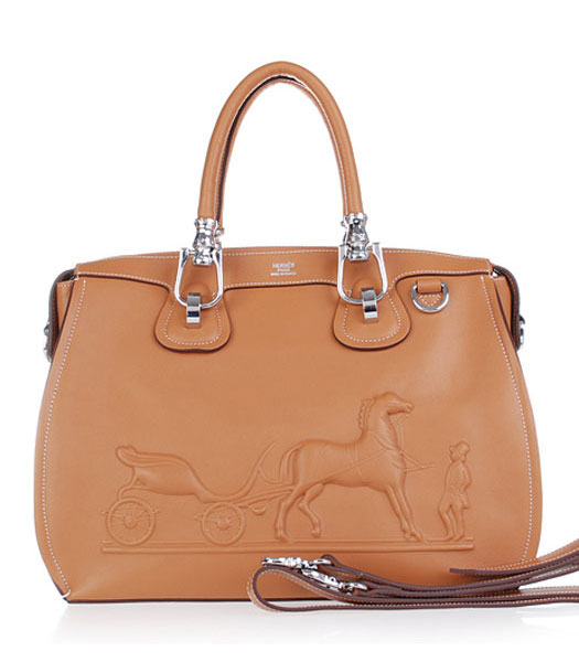 Hermes Horse-drawn Carriage Light Coffee Plain Veins Bag Silver Metal