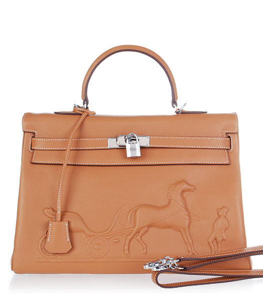 Hermes Kelly 35cm Horse-drawn Carriage Light Coffee Plain Veins Bag Silver Metal
