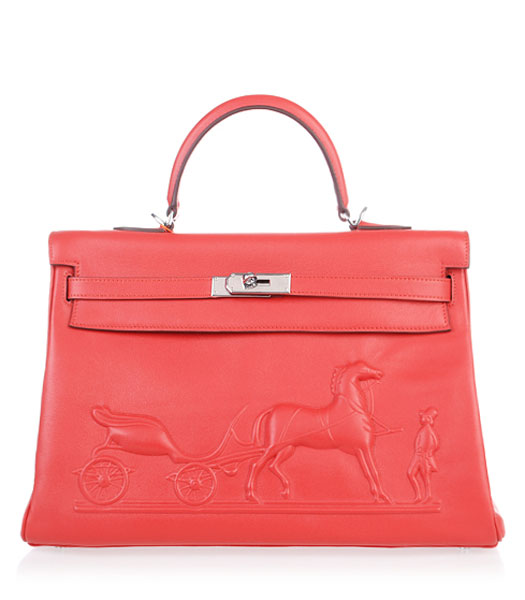 Hermes Kelly 35cm Horse-drawn Carriage Red Plain Veins Bag Silver Metal