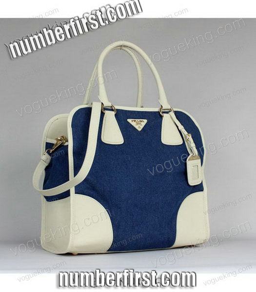 Prada Denim With White Calfskin Leather Top Handle Bag-1