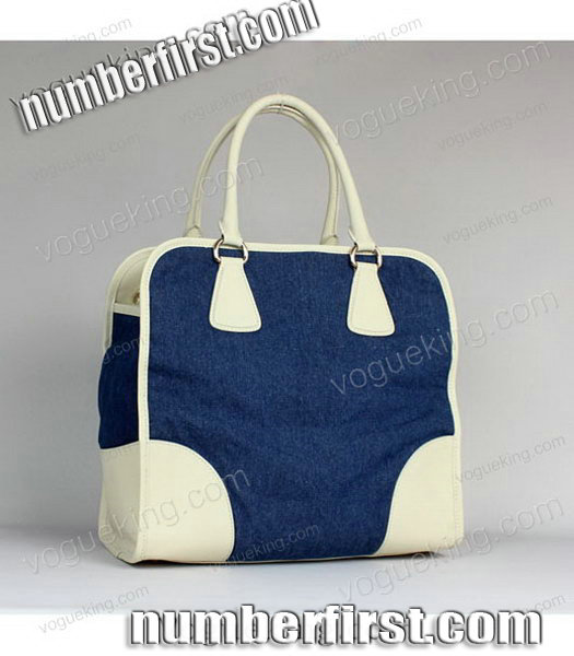Prada Denim With White Calfskin Leather Top Handle Bag-2