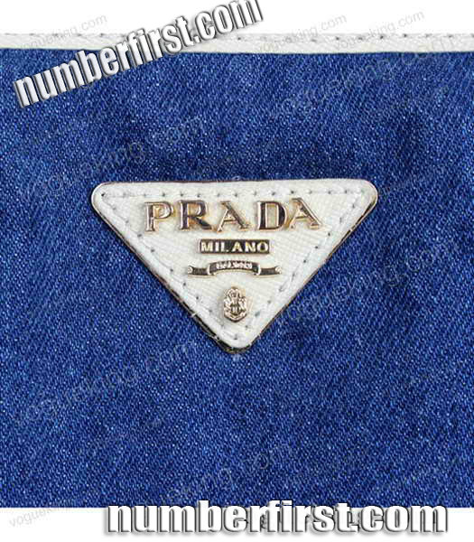 Prada Denim With White Calfskin Leather Top Handle Bag-5