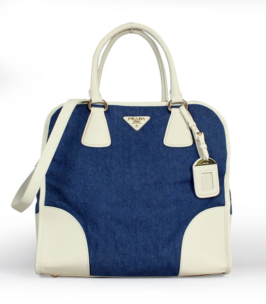Prada Denim With White Calfskin Leather Top Handle Bag