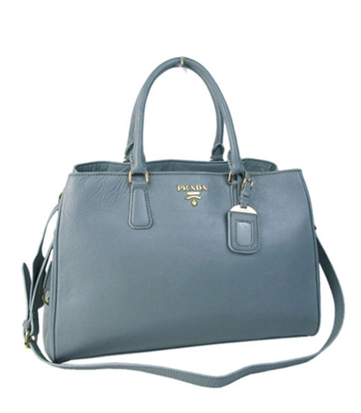Prada Grey Imported Leather Shopping Tote Handbag
