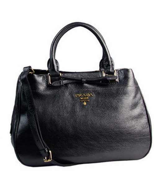 Prada Soft Dark Grey Imported Calfskin Leather Tote Bag ...