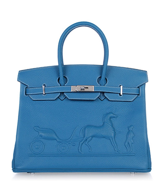 Hermes Birkin 35cm Horse-drawn Carriage Blue Togo Leather Bag Silver Metal