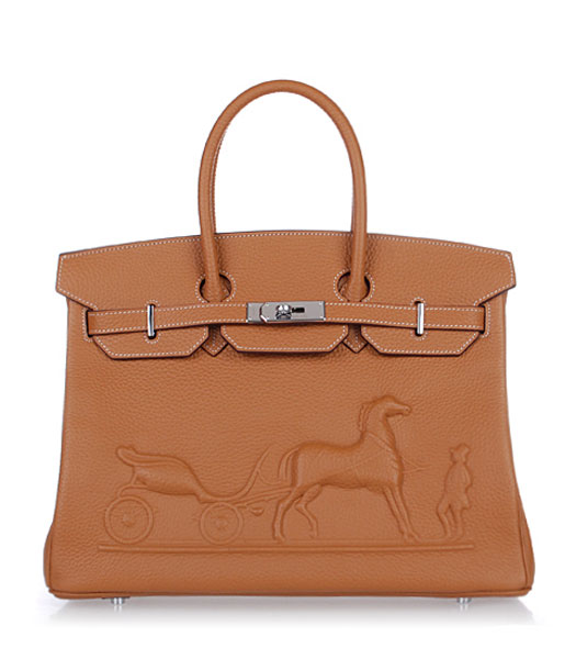 Hermes Birkin 35cm Horse-drawn Carriage Light Coffee Togo Leather Bag Silver Metal