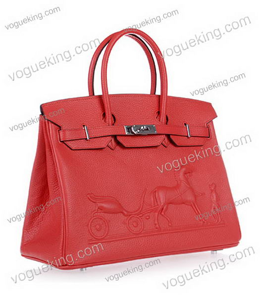 Hermes Birkin 35cm Horse-drawn Carriage Red Togo Leather Bag Silver Metal-1