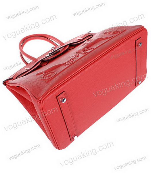 Hermes Birkin 35cm Horse-drawn Carriage Red Togo Leather Bag Silver Metal-3