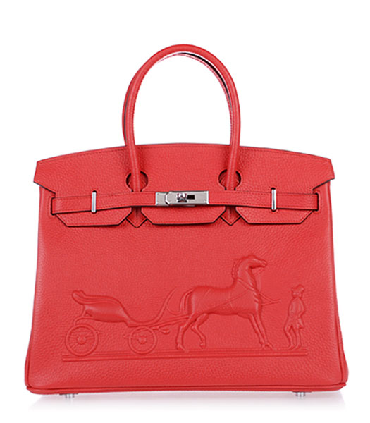 Hermes Birkin 35cm Horse-drawn Carriage Red Togo Leather Bag Silver Metal