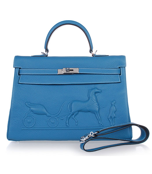 Hermes Kelly 35cm Horse-drawn Carriage Blue Togo Leather Bag Silver Metal