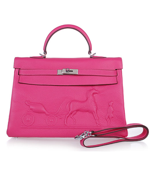 Hermes Kelly 35cm Horse-drawn Carriage Fuchsia Togo Leather Bag Silver Metal
