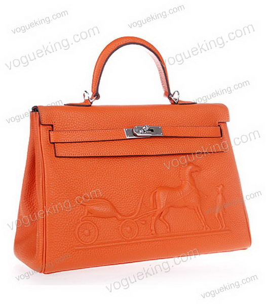 Hermes Kelly 35cm Horse-drawn Carriage Orange Togo Leather Bag Silver Metal-1