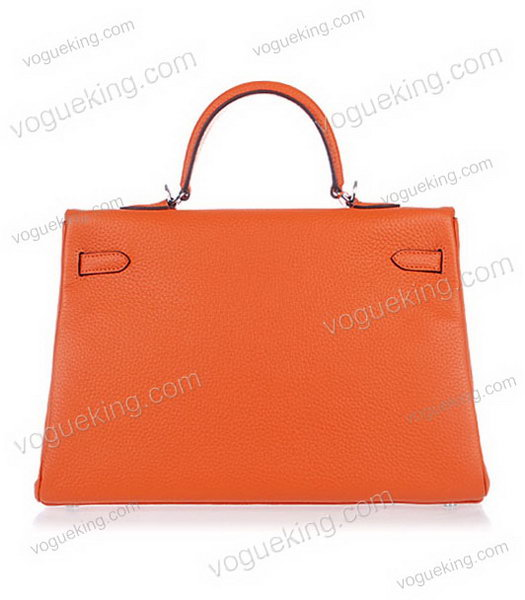 Hermes Kelly 35cm Horse-drawn Carriage Orange Togo Leather Bag Silver Metal-2