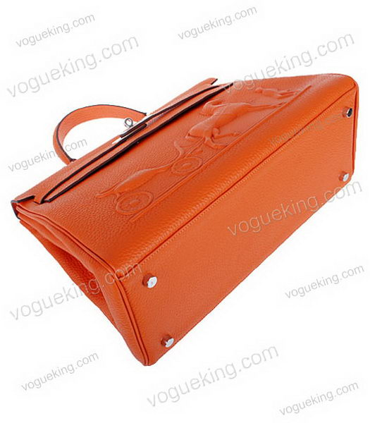 Hermes Kelly 35cm Horse-drawn Carriage Orange Togo Leather Bag Silver Metal-3