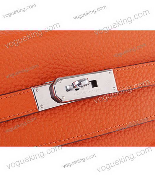 Hermes Kelly 35cm Horse-drawn Carriage Orange Togo Leather Bag Silver Metal-6