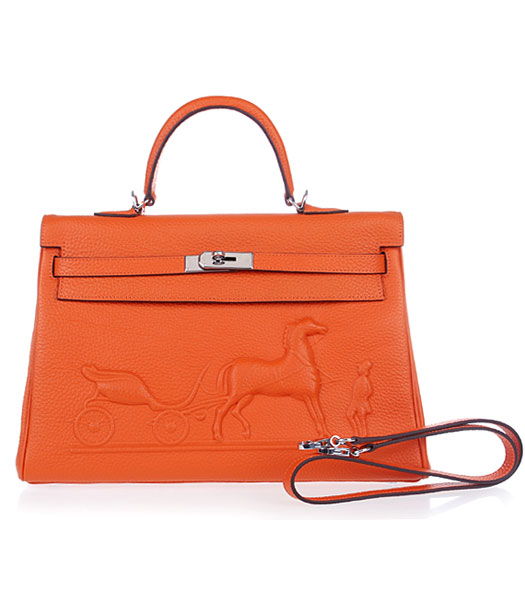 Hermes Kelly 35cm Horse-drawn Carriage Orange Togo Leather Bag Silver Metal