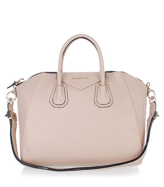 Givenchy Antigona Litchi Veins Leather Bag in Offwhite