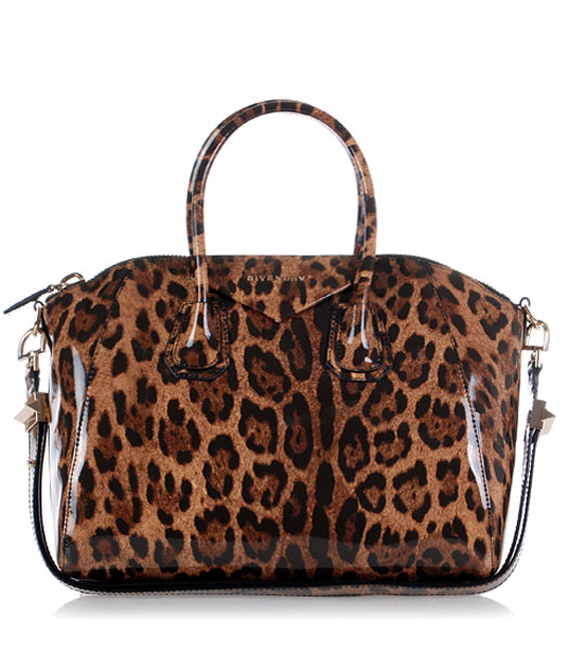 Givenchy Antigona Leopard Print Leather Bag in Coffee