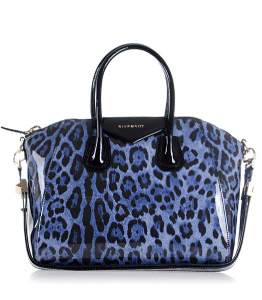 Givenchy Antigona Leopard Print Leather Bag in Blue