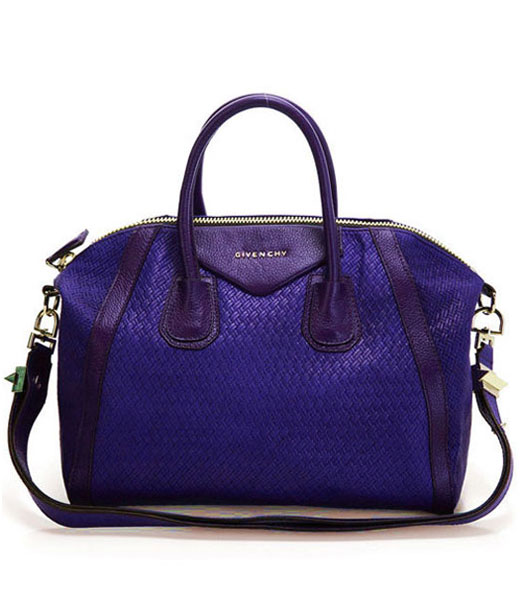 Givenchy Antigona Bag Embossing Weave Leather Dark Purple