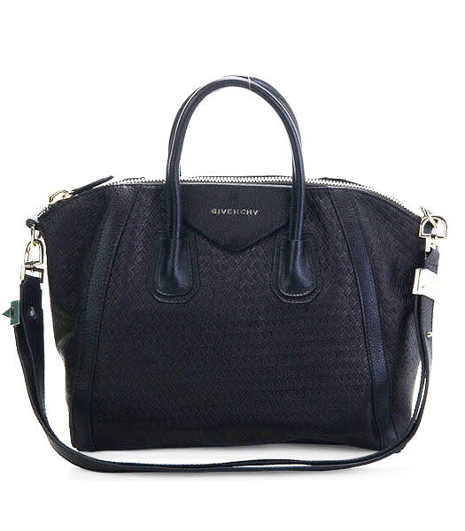 Givenchy Antigona Bag Embossing Weave Leather Black