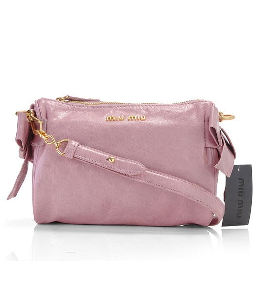 Miu Miu Small Imported Female Light Pink Purple Oil Wax Leather Shoulder Bag
