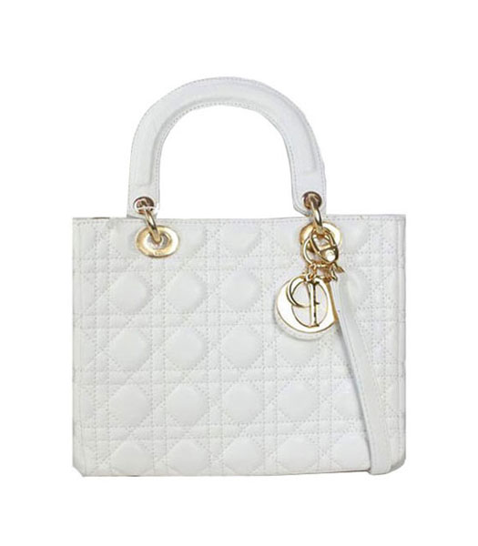 Christian Dior Small Lady Cannage Golden D Tote Bag White Lambskin ...