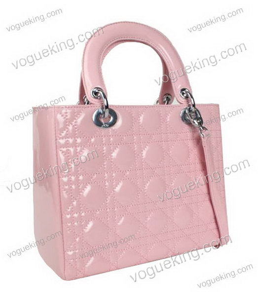Christian Dior Small Lady Cannage Silver D Tote Bag Pink Patent Leather-1