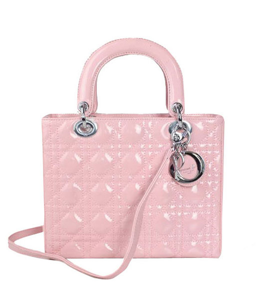 Christian Dior Small Lady Cannage Silver D Tote Bag Pink Patent Leather
