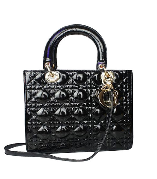 Christian Dior Small Lady Cannage Golden D Tote Bag Black Patent ...